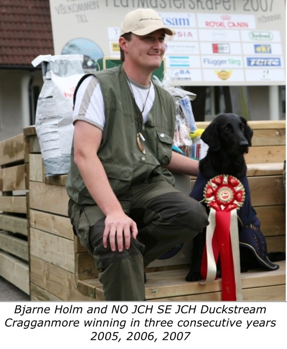Bjarne Holm and NO JCH SE JCH Duckstream Cragganmore winning in three consecutive years 2005